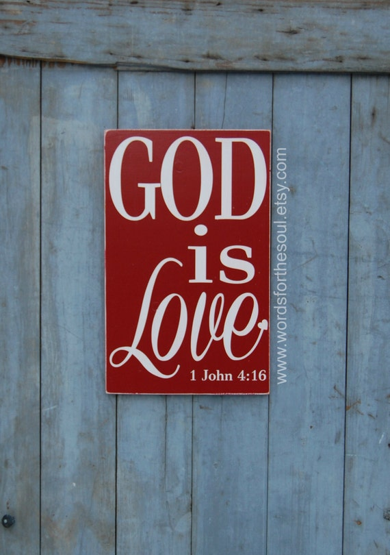 Items similar to god is love bible verse wall art for Love sign