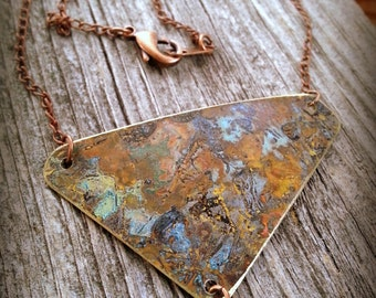 Modern Necklace in Mixed Metals with Unique Patina