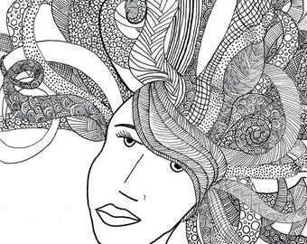 Hair style illustration, black pen illustration zentangle print on A5 paper for teen girls room decor as gift for teen girl