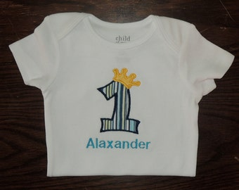 Baby Boy's First Birthday Crown King Prince Personalized Onesie 1st (2nd also available)