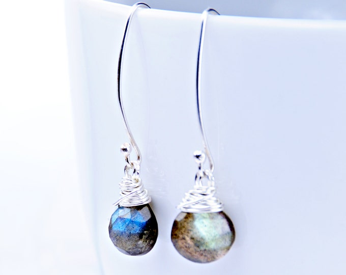 Labradorite Earrings Wrapped in Sterling Silver, Gemstone Earrings, Gemstone Jewelry Blue Earrings, Bridal Jewelry Bridesmaid Gift, Mom Gift