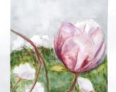 "Rustic Magnolias. Original watercolor, Garden painting. 10"" x 11.5"" - RhymingScapes"
