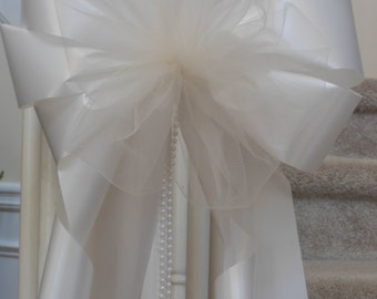 10 white or ivory add your flowers pearl beads chose color tulle wedding pew chair bows extra tulle purple lavender pink blue navy