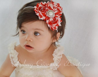 Baby Headband, Christmas chevron headband, Toddler Headband, Newborn headband, baby hair bow, Newborn photo prop, infant, Christmas bow
