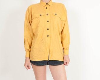 Vintage mustard blouse woman's size large