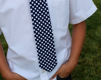 Nautical Navy  and White Polka Dot tie for Ages up to 10 to 11 Boys  by GreenStyle