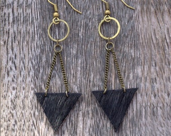 Dangle Leather Earrings Mixed Metal Earrings Leather Earrings. Women Earrings. Geometric Earrings