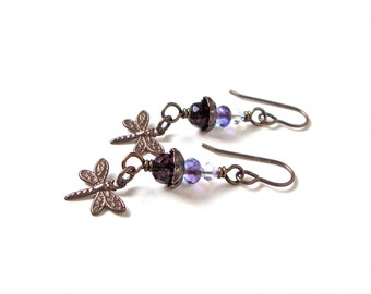 Dragonfly jewelry, dragonfly earrings, dangly brass earrings, purple bead earrings, woodland jewelry, nature inspire jewelry