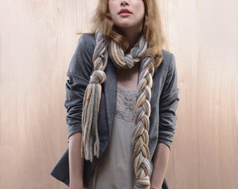 GIFT for HER: Long Braided Angora Scarf