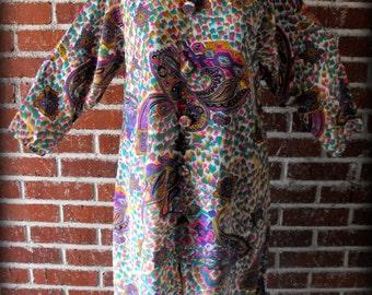 Vintage 1960's Psychedelic Paisley Mandarin Color Tunic Dress Small-Medium