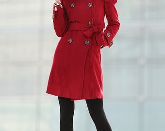 Red Coat Double Breasted Wool Military Slim Winter Coat -C202