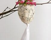 Easter Egg Decoration vintage sheet music folk art pink flower white bird cottage chic shabby chic ribbon mache egg