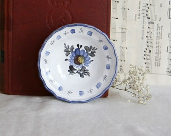 Vintage German Handarbeit Pottery small dish bowl wall hanging wall art blue flowers white dish