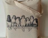 Vintage Birds on Wire Tote Bag Eco friendly