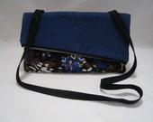 Royal Blue and Floral Print Asymmetrical Fold Over Purse / Concert, Evening Bag