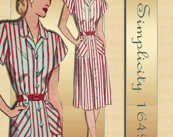 Simplicity 1649 1940s Dress Pattern WWII Swing Era One Piece with Two Neckline Variations Uncut Factory Folded Bust 38