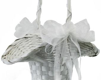 Flower Girl Basket With Bows - Flower Basket