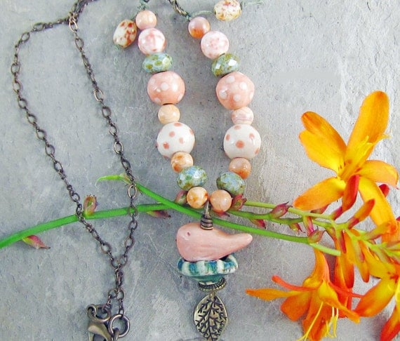 Bird Nest Necklace Orange Peach Green Handmade Ceramic OOAK Brass Chain