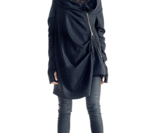 Asymmetryc Extravagant Dark Grey  Hoodded Coat / Casha Coat / Zip Hooded Jacket A07080