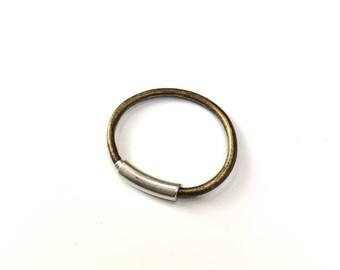 Leather Bangle Bracelet, Magnetic Clasp, Tube Bracelet, Gold Leather, Gold Bracelet, Silver Tube, Regalize, Silver Bangle