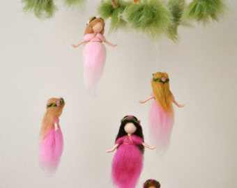 Nursery Mobile Waldorf inspired:  The Pink Colors Wool Fairies in a branch