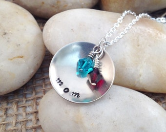 Personalized Hand Stamped Domed Nickel Silver Necklace - Mom, Grandma, etc. - Swarovski Birthstones