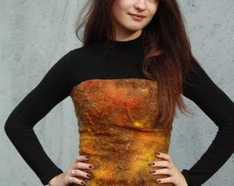Felted silk corset  Steampunk overbust corset Soft gold corset