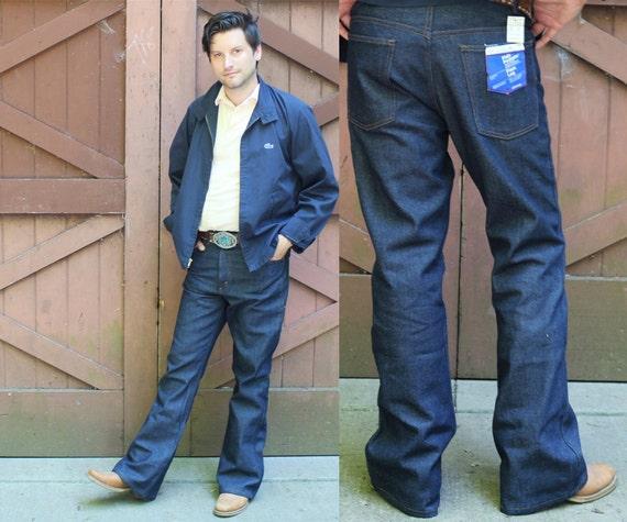70s Flare Leg Dark Blue JEANS Country Western Denim PANTS JC