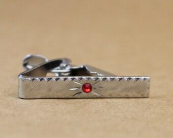 Small Vintage Silver Tie Clip w/ Red Rhinestone