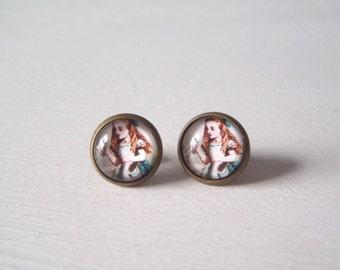 Alice in Wonderland Earrings vintage illustration