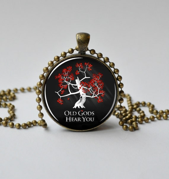 Game of Thrones Jewelry. Sacred Tree. Old Gods. Tree of Life. Game of Thrones Necklace. Glass Dome Pendant. Altered Art Pendant 082