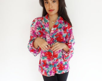 lovely bright floral semi sheer 70's chic vintage blouse - small - medium