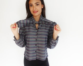 puffed sleeve striped neck tie 70's vintage belle sleeved blouse - small - medium