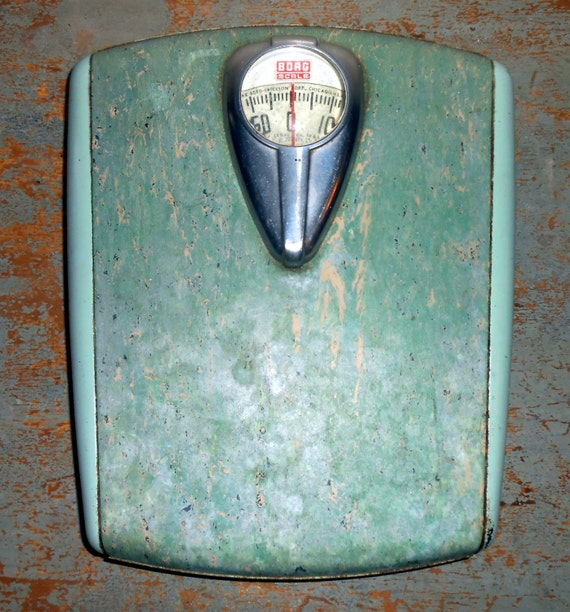 Vintage scale borg bathroom scale turquoise retro for Borg bathroom scale