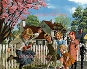 Remember Hopscotch  - Vintage Restored Art Print - Childhood School Days -  Great For Little Girl's Room or Any Room  - 1950s art