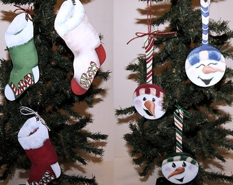 Hand Painted Wood Ornaments Snowmen and Stocking Christmas Decoration, Holiday Decor Each Sold Separately