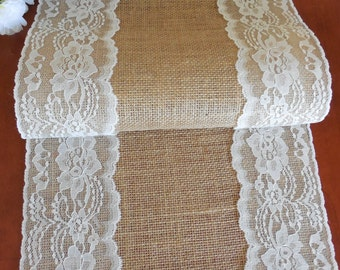 Burlap table runner wedding table runner with vintage ivory lace rustic romantic wedding decoration