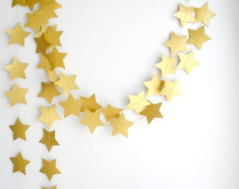 Gold Bronze Star Garland, Wedding decoration, Gold party garland, Holiday garland,  New Year's decor