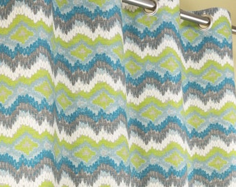 Teal Aqua Lime Green Gray Off White Frost Chino Chevron Curtains - Grommet - 84 96 108 or 120 Long by 25 or 50 Wide - Optional Blackout