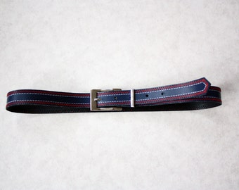 vintage leather blue belt with metal buckle 70s with red zigzag stich retro chic