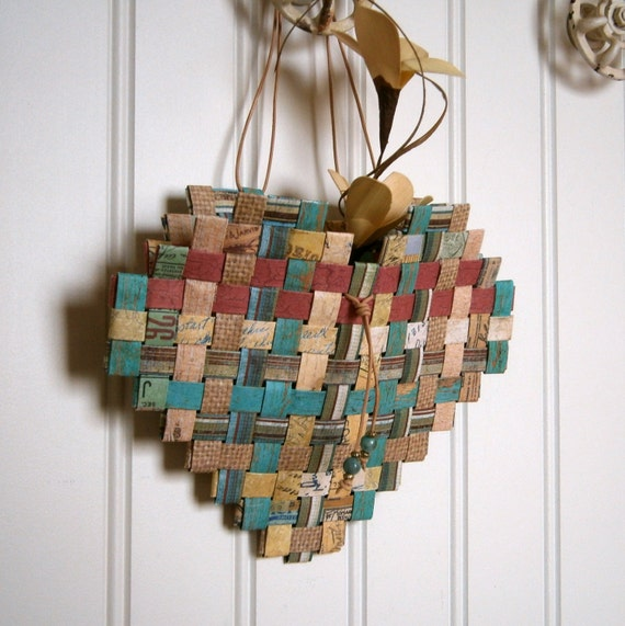 paper basket weaving template - woven paper heart basket 7x6 recycled paper in shades of