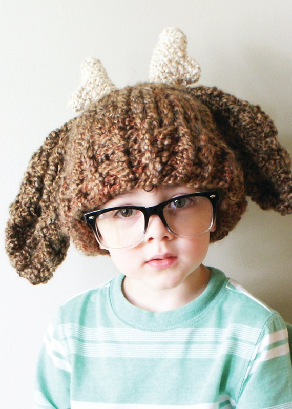 Knitting Pattern Deer Hat : DIY Knitting PATTERN Chunky Deer Hat in Toddler Child and