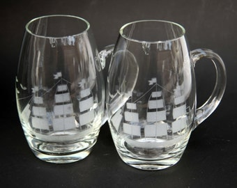 Vintage SAILBOAT TALL Ship Beer Mugs 2 Crystal Etched Beer Steins Mid Century Modern Bar ware for your Loft or Modern Home