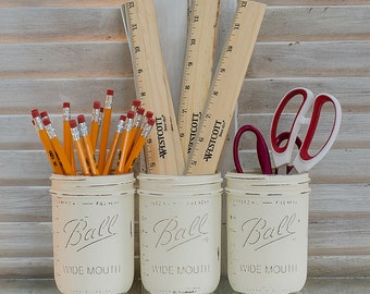Wide Mouth Painted & Distressed Mason Jars - Annie Sloan Chalk Paint Old White