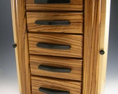 ZEBRAWOOD JEWELRY BOX with space for hanging necklaces and secret compartments