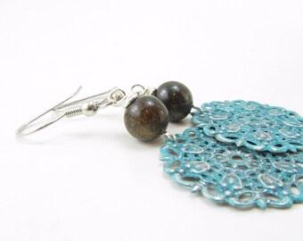 Handpainted Turquoise and Bronzite Dangle Earrings