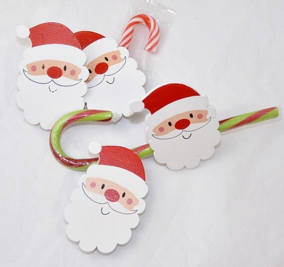 Santa Wood Pin Tags - Perfect to bag & Tag Your Crafts 8 Santa Wood Labels with wood Clip,Favor Bags Candy Bars, Place Settings, Personalize