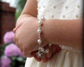 Flower Girl Bracelet - Gift for Flower Girl - Charm Bracelet - Thank You Gift - Girls Jewelry - Pearl Bracelet