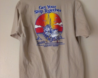 80s vintage men's large Funny Marina humor tshirt, tan, couple small spots