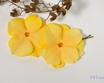 Yellow Flower Bobby Pins - Hydrangea - Flower Hair Pins